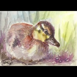 ACEO Original Duckling painting duck bird art